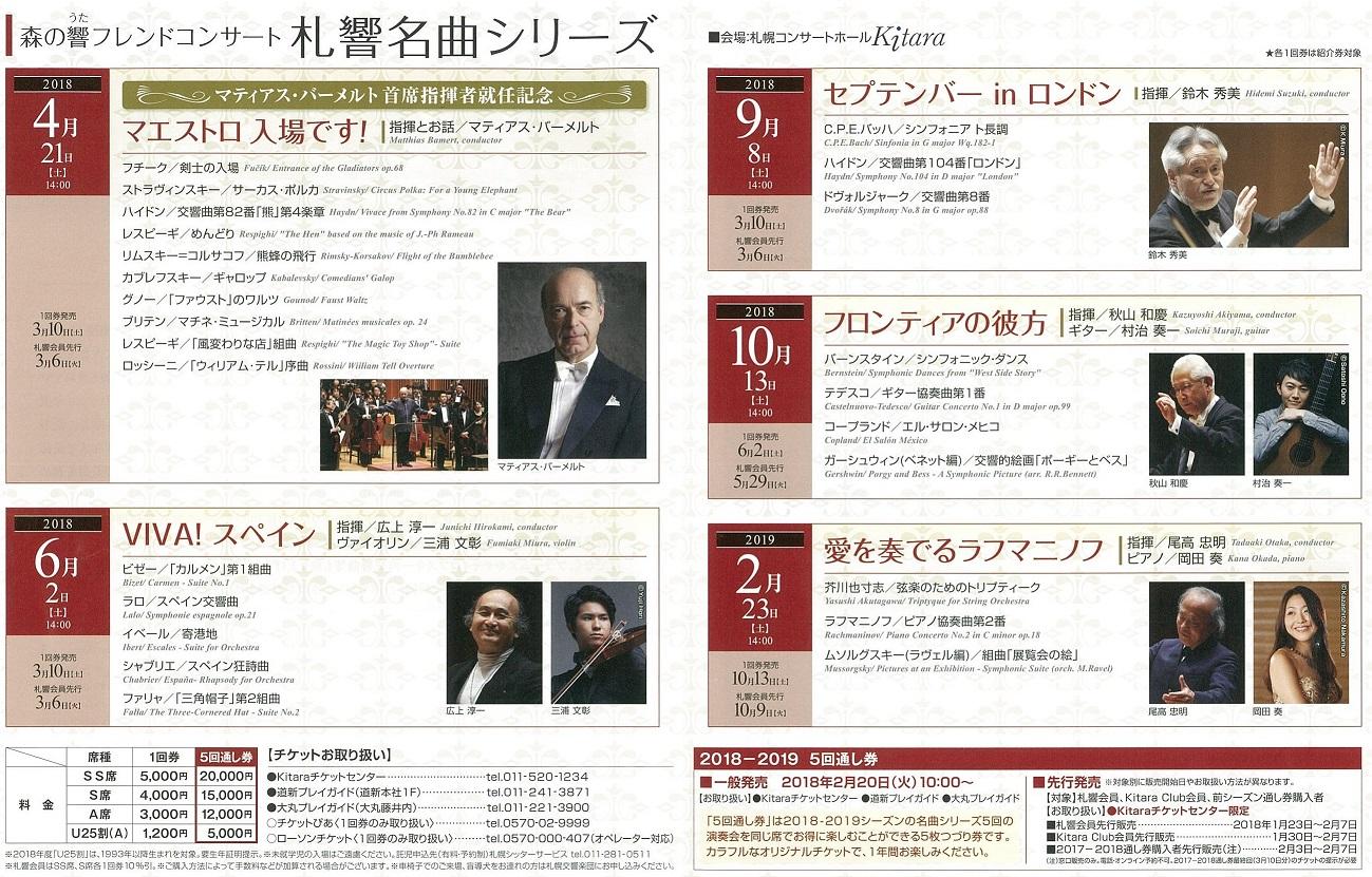 2018-2019シーズン 『札幌交響楽団 名曲シリーズ』 5回通し券発売について