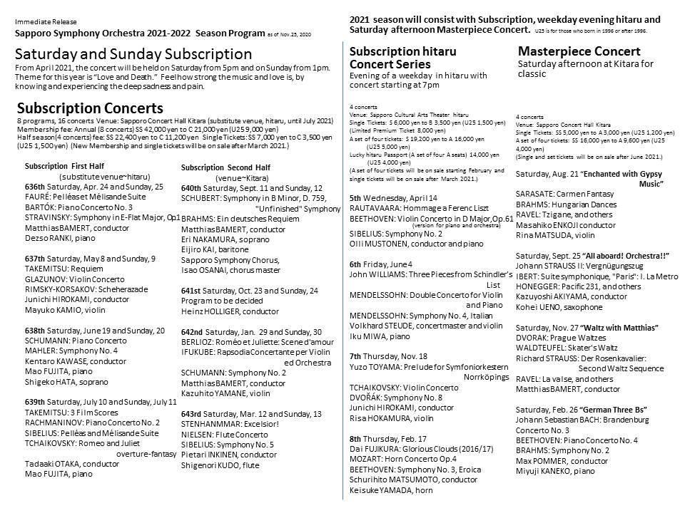 2021-2022シーズン『札幌交響楽団主催演奏会』ラインナップ発表(チラシ更新済)